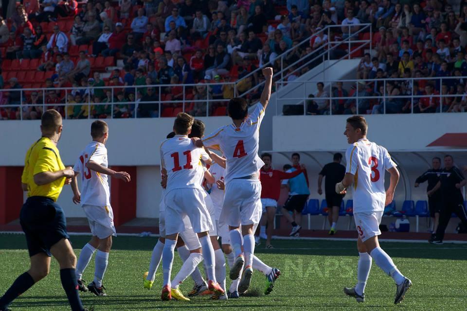 The U15 team celebrate a goal