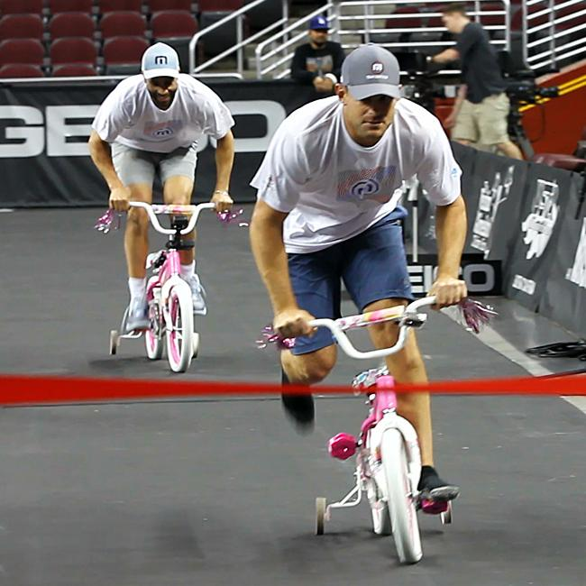 James Blake and @andyroddick in a grueling barbie bike race for our latest Friday Nooner. Stay Tuned. #beAwesome http://t.co/iqGPkVRveA