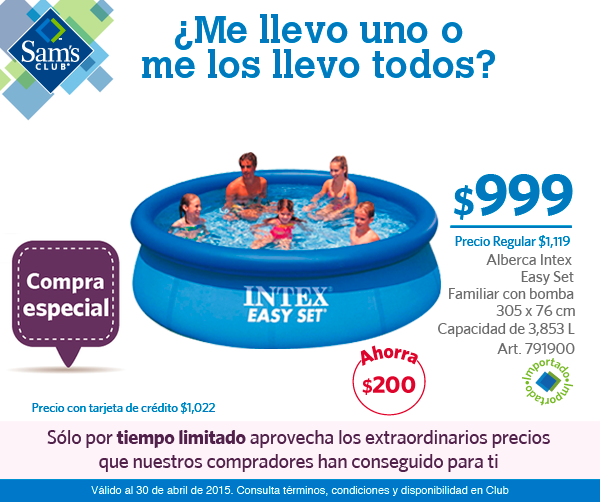 Alberca intex sams club airea condicionado for Precios de albercas