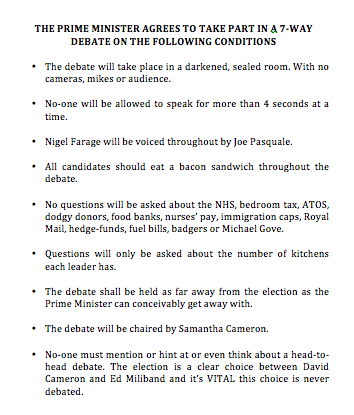 A reminder of the conditions Cameron insisted on before agreeing to the 7-way debate. http://t.co/TIe2IU4hsG