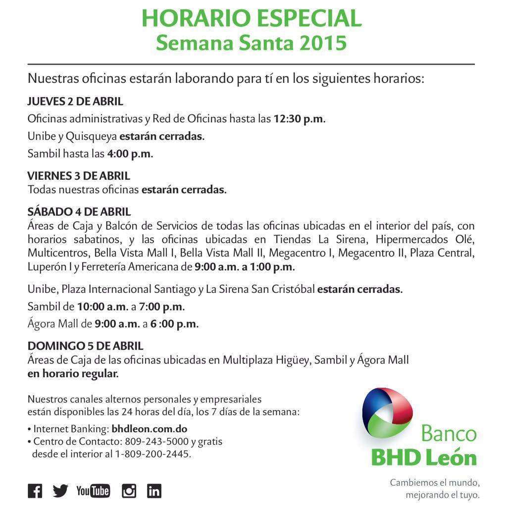 Banco bhd le n on twitter horario especial semanasanta for Horario sucursales