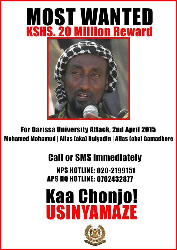 This guy is apparently the mastermind of the #GarissaAttack Government offers a reward of 20Million shillings @K24Tv http://t.co/vmIF94pzwh