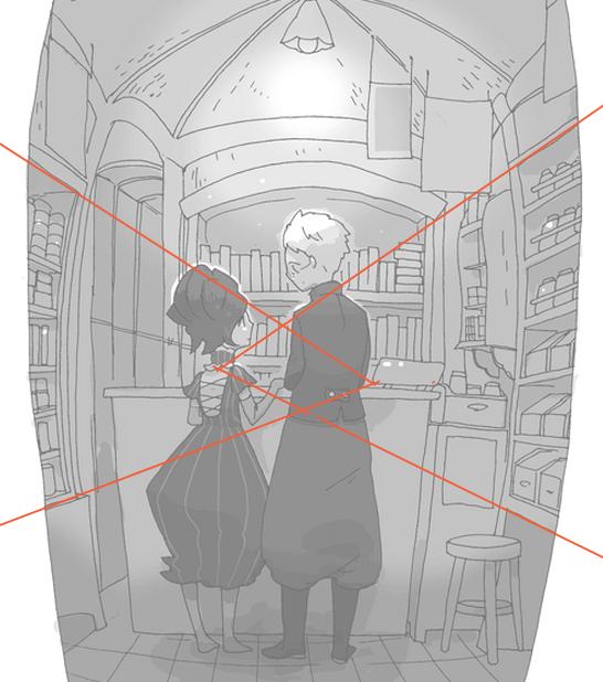 パースの話だけど、一点透視の絵でちゃんと描いてるのに仕上がりがスカスカしてなんか違うと思った時は、消失点を2つに分けると狭くなったり、逆に広がったりするよ。多少歪んでもOKな絵柄で消失点付近を誤魔化せる構図のときにおすすめ