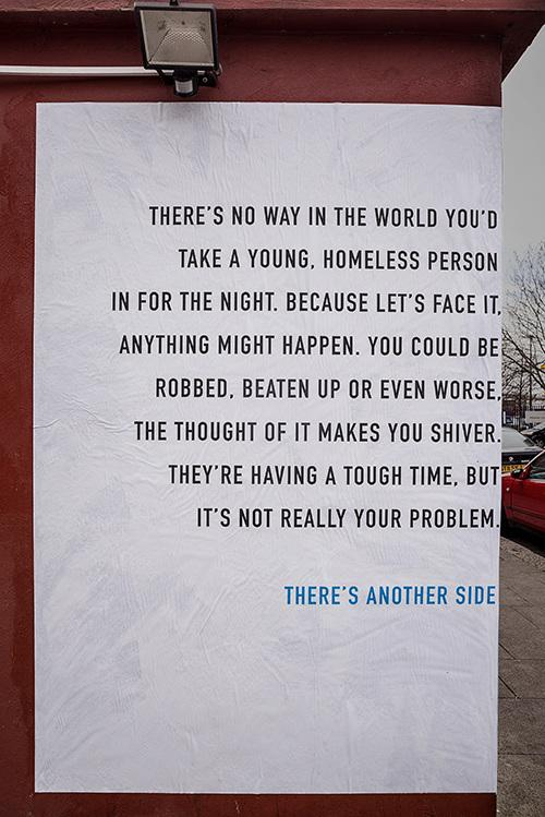 Posters for homeless charity @DepaulUK use corner sites for a different perspective on issues http://t.co/ZEgP20VTZo http://t.co/cLztBZnEz3