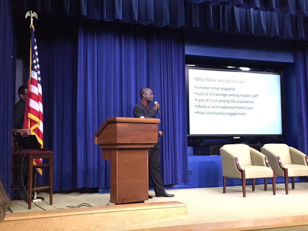 """Liberian Director of Health Research Nelson Dunbar speaking at #fightingebola event @WhiteHouse """"Focus on the Data"""" http://t.co/N18QRYY0iR"""