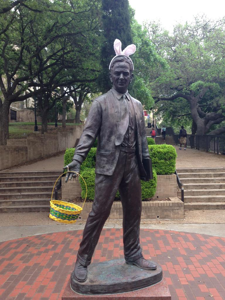 LBJ is in the Easter spirit. #TXST http://t.co/zjZv7xsgRn