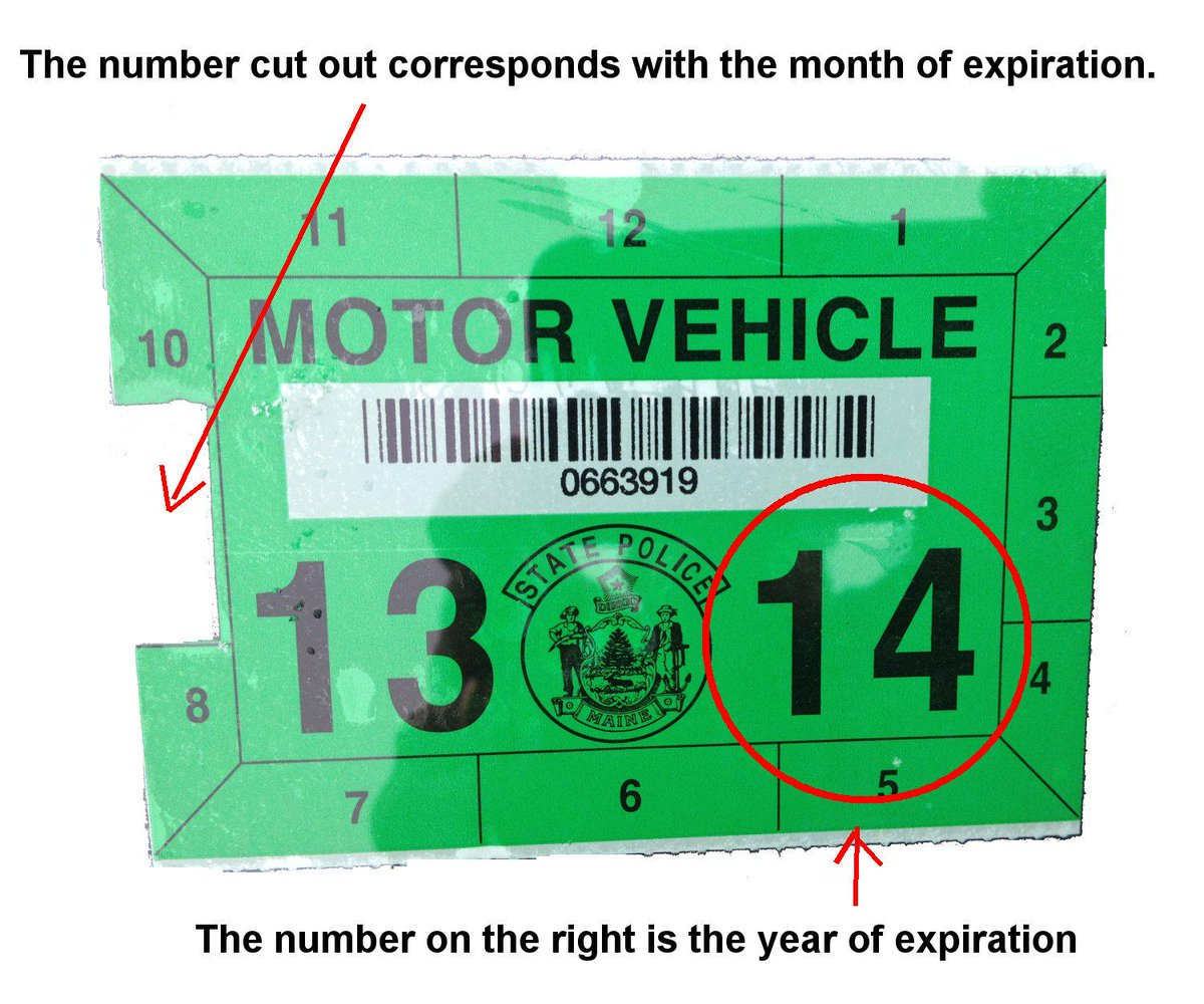 Maine state police on twitter reminder if your motor vehicle inspection sticker is green it is expired take a minute to check your sticker info