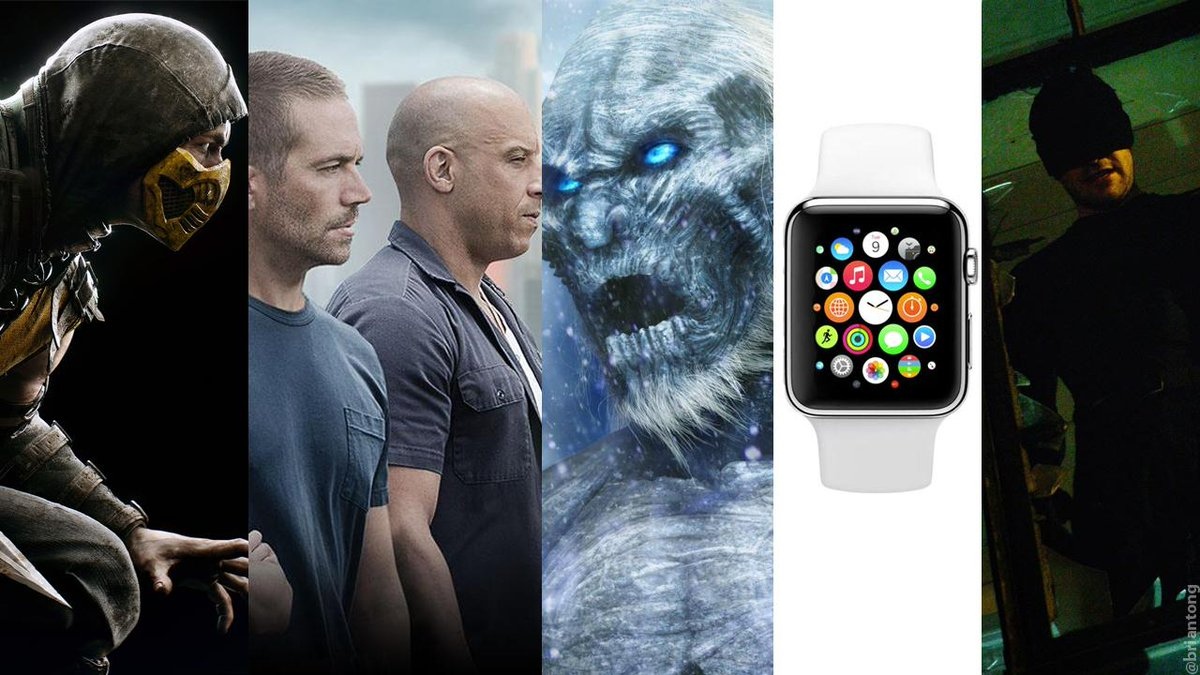 April. The Best Birthday Month Ever. Mortal Kombat X. Furious 7. Game of Thrones. Apple Watch. Daredevil. http://t.co/tG3T2CgP0k