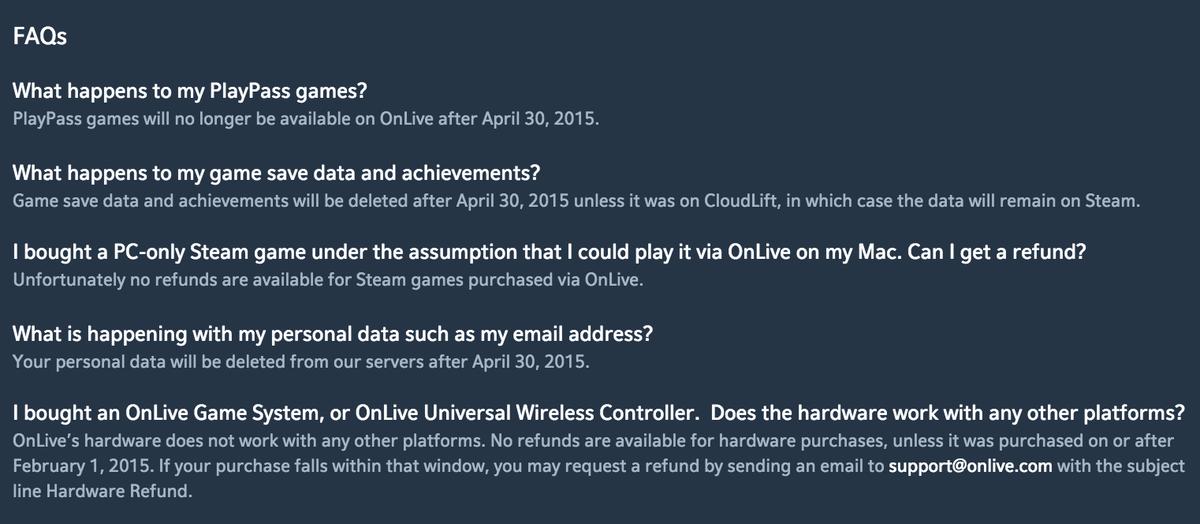 The OnLive shutdown FAQ is a lesson in ownership in a digital world. http://t.co/JNPjVafyS9 http://t.co/WT6CHcMLdq