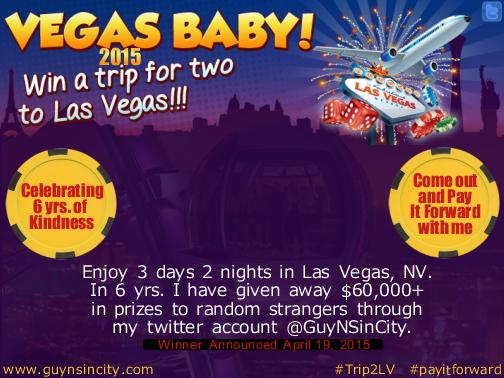 This year's twitterversary #payitforward... #Trip2LV Winner announced April 19, 2015. :) http://t.co/0unaNQz2Qe