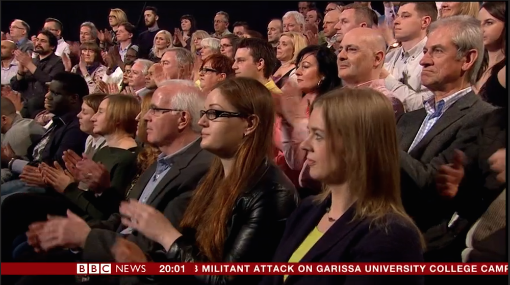 PHOTOGRAPH: THE DIVERSE ITV #LEADERSDEBATE AUDIENCE http://t.co/00wQ9FNIiL