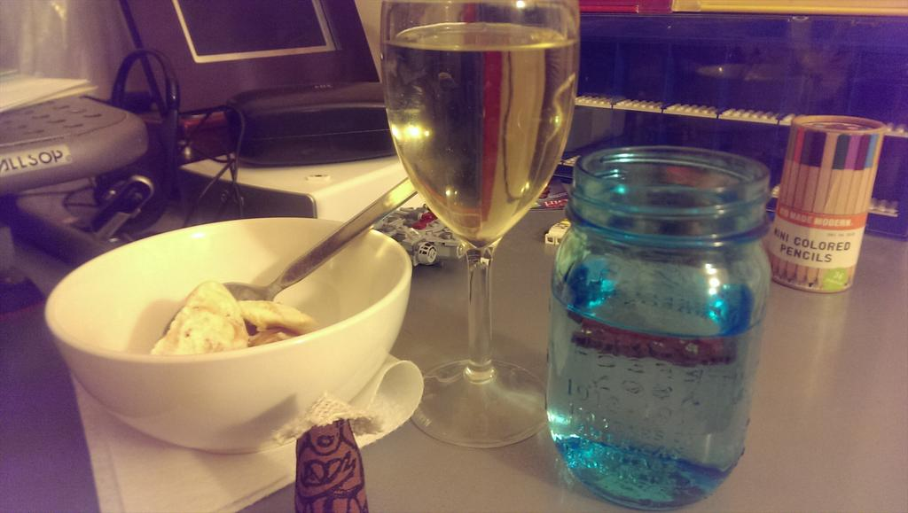 Bowl of ice cream, glass of wine, bottle of water, and a douen friend. Ready for #caribbeankidlitchat! http://t.co/bHKWorcI7E