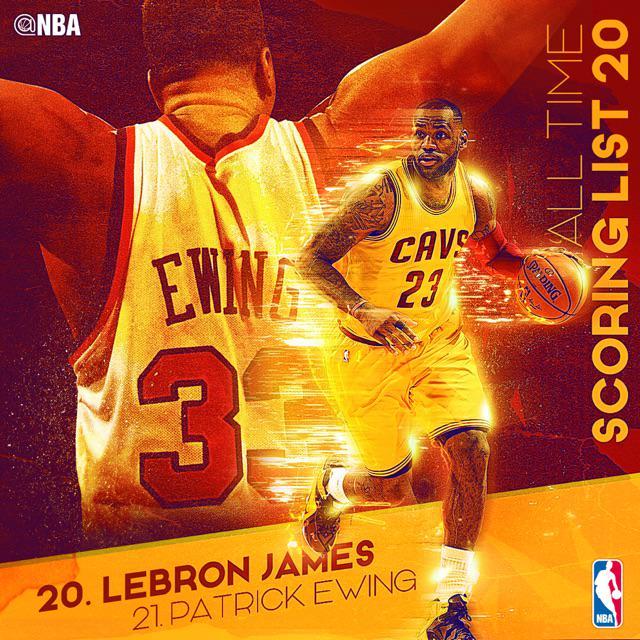 LeBron Passes Ewing In All Time Scoring : Nba