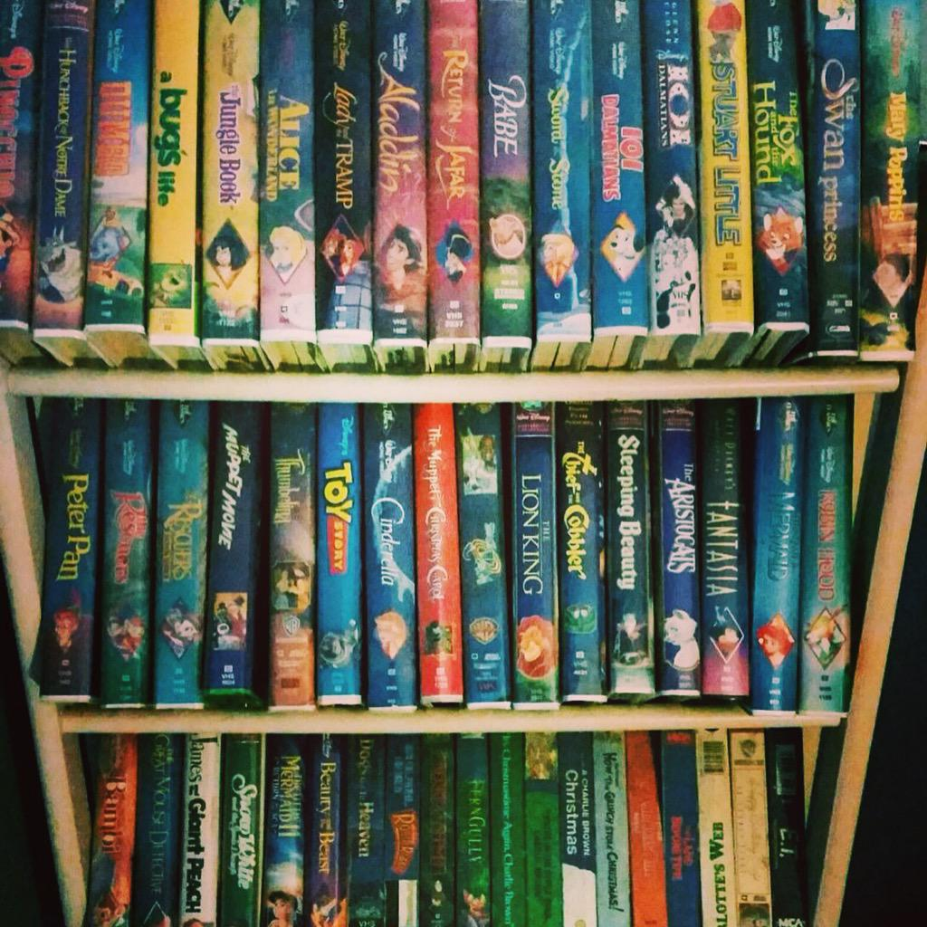 A 90's kid's childhood on a shelf-do you still have a collection of #VHS tapes hiding somewhere? Show us! #LoveMovies http://t.co/dMKJesZHfz