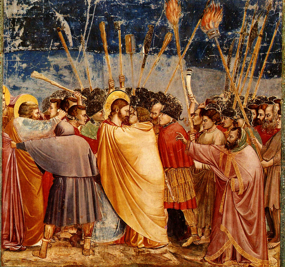 Judasz, otrzymawszy kohortę oraz strażników od arcykapłanów i faryzeuszów, przybył tam z latarniami, pochodniami i bronią