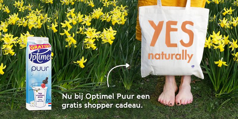 Voor deze leuke shopper hoef je niet ver te zoeken. Die geven wij je cadeau! Fijne Pasen. http://www.optimel.nl/puur