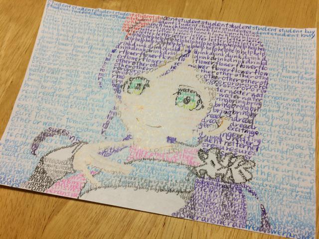 お絵描きしたい、でも課題で英単語を覚えなきゃいけない。そんな新中二の長女が取った手段↓ pic.twitter.com/b5T9Kp5exh