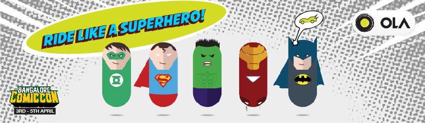 Taking @Olacabs to @ComicConIndia like a #Superhero #ComicCon #ComicConBangalore http://t.co/qqg1SjT0W6