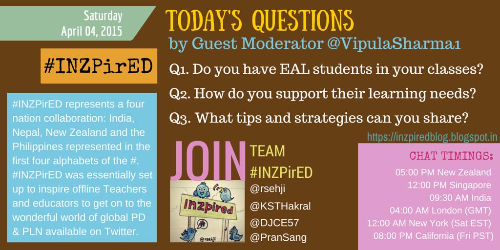 Join GuestMod @VipulaSharma1on #INZpirED in10min: @askMsQ @naghma_khn @TyrnaD @deem_ellen @hmccoy0615 @rinikaran http://t.co/1SO6TulW62