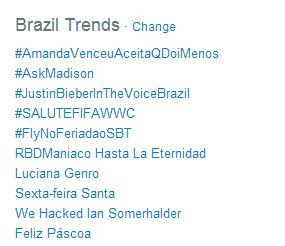 Oh.....my....goodness. #SALUTEFIFAWWC is now the #4 trending topic in Brazil. This is crazy! http://t.co/oSvTHvw7DK