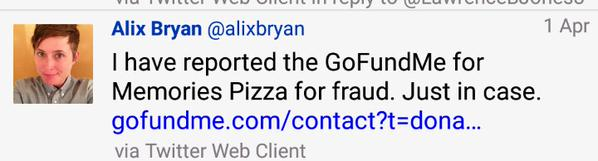 Alix Bryan of CBS files fraud on Memories Pizza GoFundMe page
