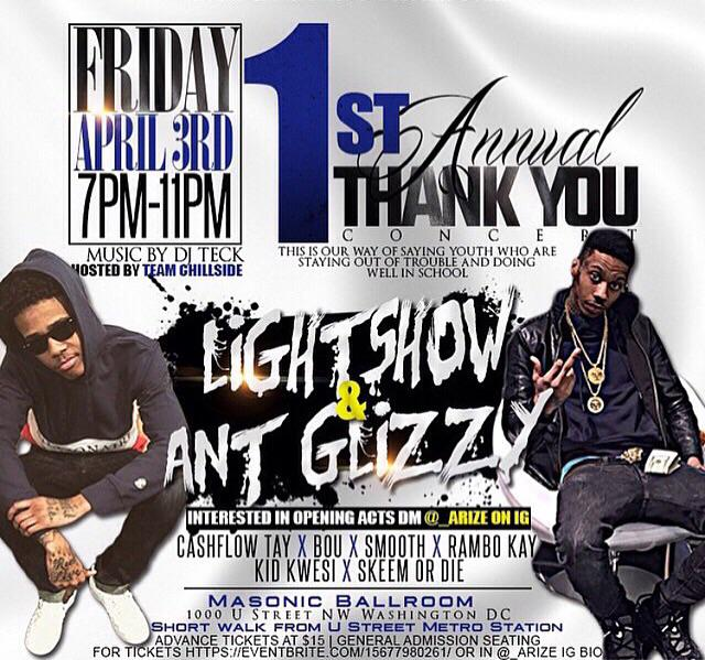 @antglizzygg TONIGHT! #NEWLOCATION #ThankYouConcert @ #MASONICTEMPLE LIGHTSHOW + ANT GLIZZY & @ArizeTOB 4 Tickets http://t.co/GgLr1DQzlu