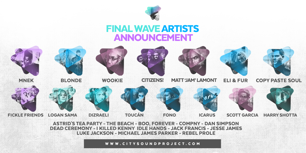 FINAL WAVE HEADLINERS FOR #CSP15  @MNEK  @Blondesound  @Wooxstar  @GoCitizens  @ficklefriendsuk  @mcdizraeli  & more! http://t.co/megSb1Yb8A