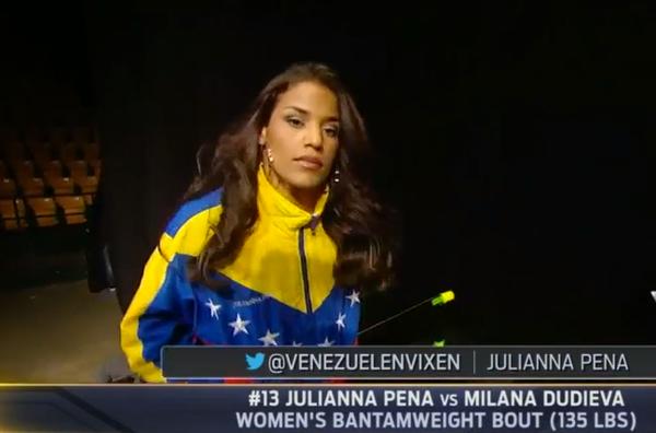 . @VenezuelanVixen su entrada con la chaqueta tricolor de su ascendencia!!! #VamosJulianna #UFC #UFCFairfax http://t.co/iDAs03T290