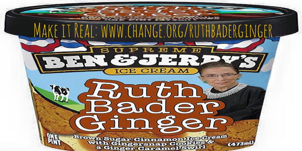 Yael wants a @benandjerrys #RuthBaderGinger flavor in honor of her favorite #SCOTUS Justice: change.org/ruthbaderginger