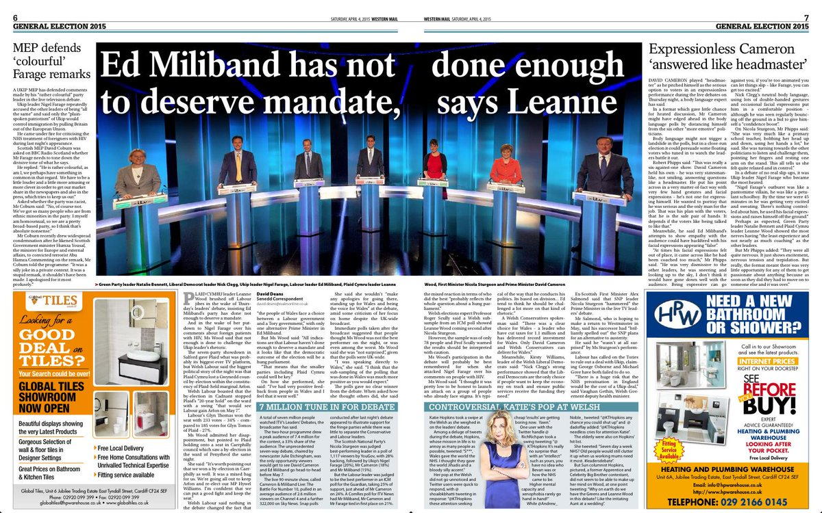 Western Mail  pages 6&7 - Leanne Wood on Leaders' debate http://t.co/gTHh8U6EJt http://t.co/HX3CQIK4vu