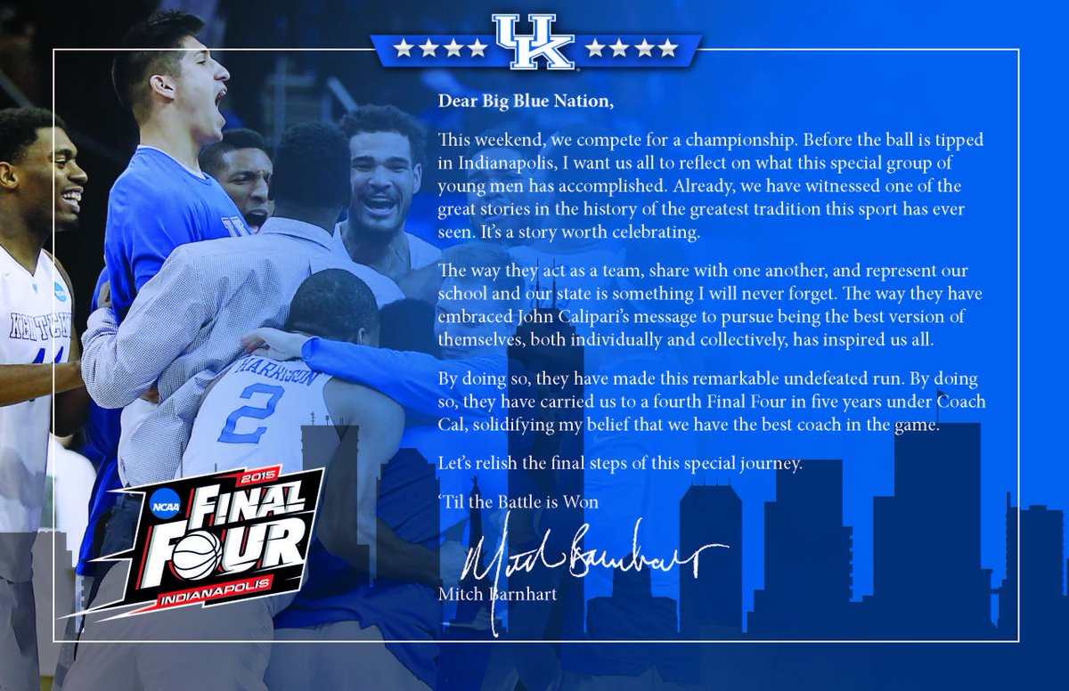 Tonight @KentuckyMBB takes the floor in the #FinalFour. Before they do, I have some thoughts to share with the #BBN. http://t.co/RtOoT7BSY5