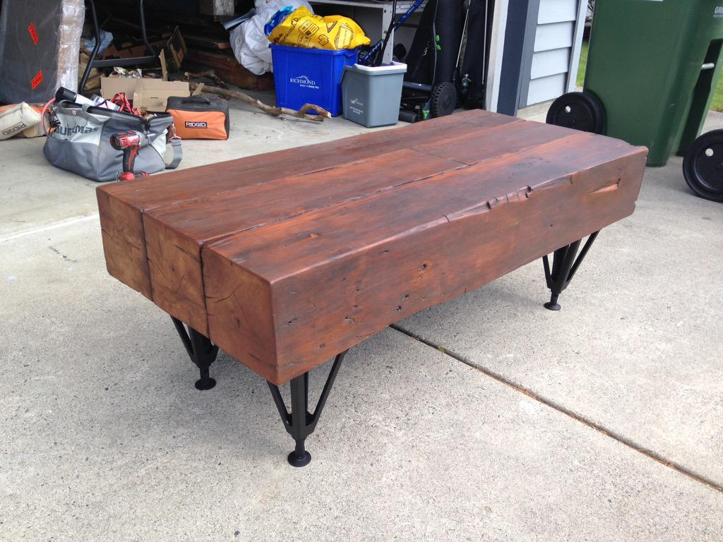 Turner Wood Art On Twitter Reclaimed Fir Beam Coffee Table With Old Jack Stand Legs Salvaged Http T Co Pvnkhy4rjj