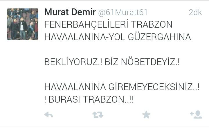 Anyone who knows Turkish should condemn this tweet. This is basically Trabzonspor mentality.  http://t.co/aXzW3CNnvM