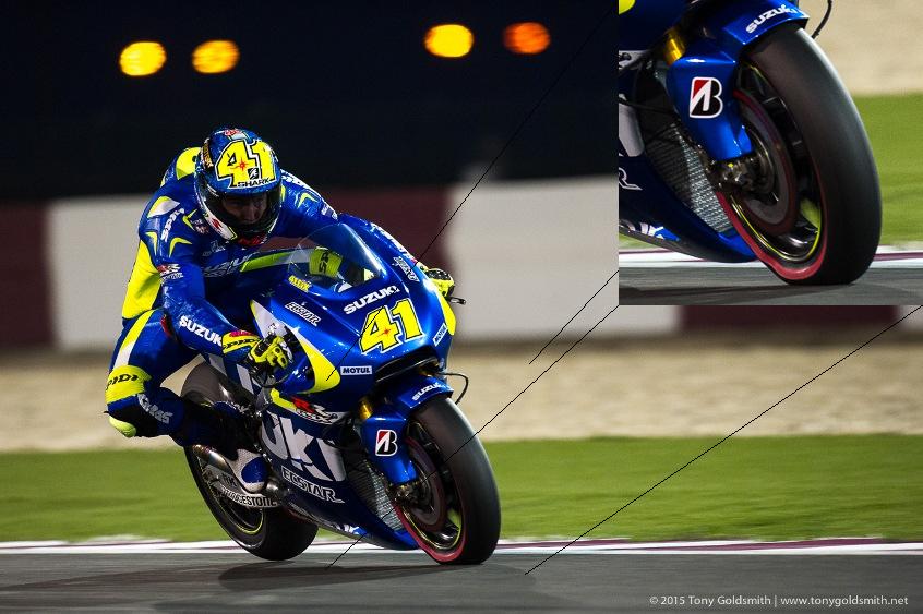 #MotoGP - Awesome shot by @tonyfish73; caught the tyre deflection under hard braking on @AleixEspargaro's Suzuki! http://t.co/OTufJwOckR