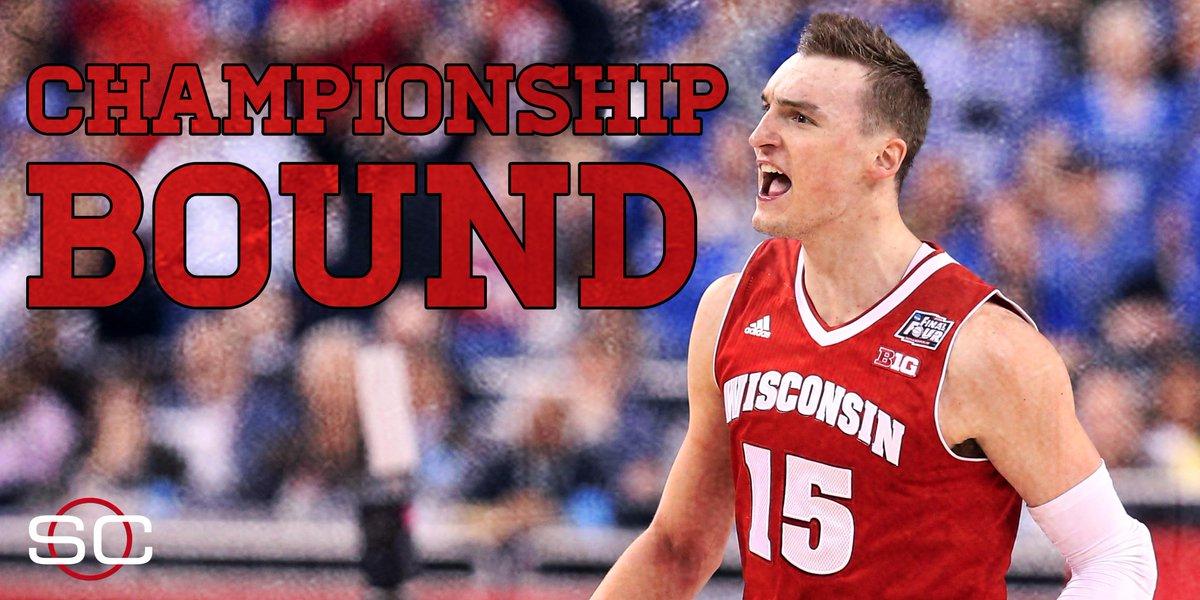 DOWN GOES KENTUCKY! Wisconsin beats the Wildcats, 71-64, and advances to 2nd title game in school history.
