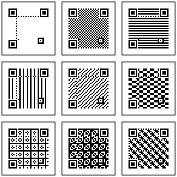 Empty QR codes. All version 4, error correction level M. No mask, then masks 1 through 8. http://t.co/MQEXtMSonQ