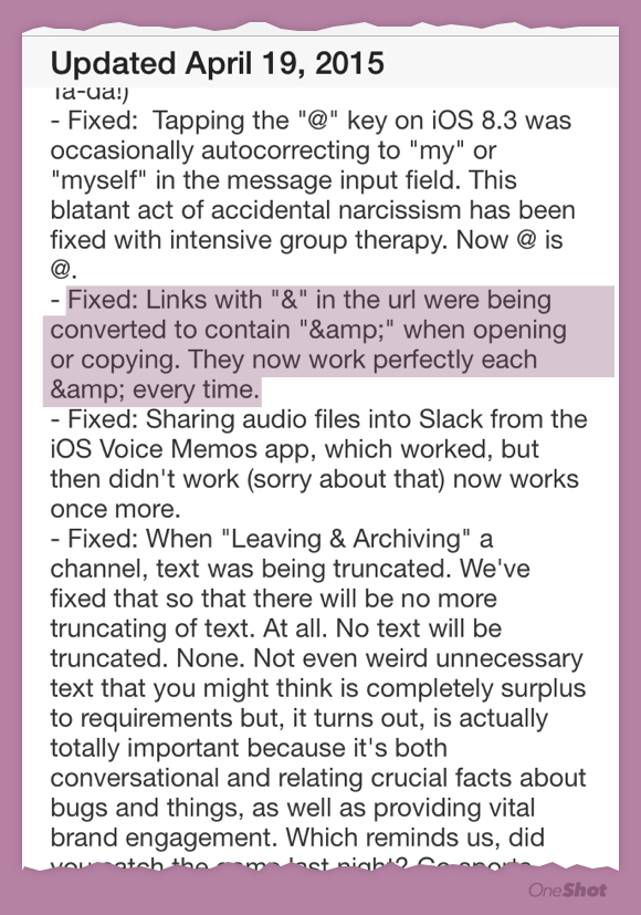 The humor in the @SlackHQ ios app changelog sometimes hits a little too close to home http://t.co/mZwlbVXEXE
