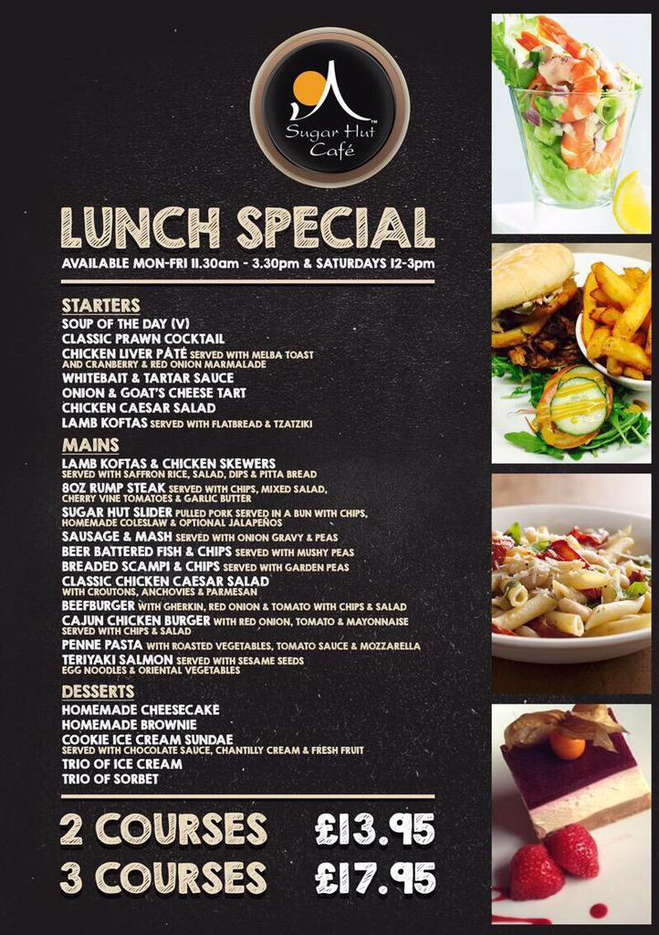 If you are in Brentwood tomorrow why not check out our new lunch menu in the @SugarHutCafe served from 11.30am http://t.co/DCx17AfFOQ