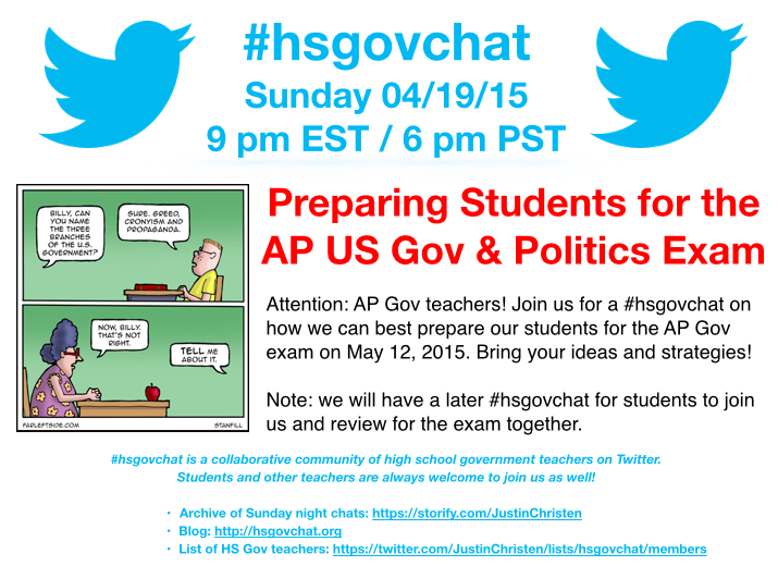 Thumbnail for #hsgovchat (04/19/15): Preparing Students for the AP US Gov & Politics Exam