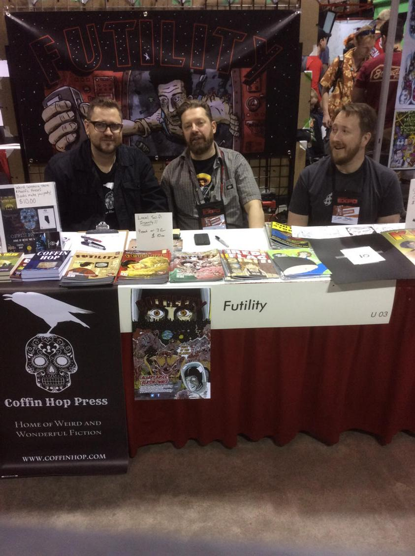 Table U03 with the FUTILITY boys @rjoverwater and@Lancegoiter come on down! @calgaryexpo http://t.co/9qB6z7rHmQ