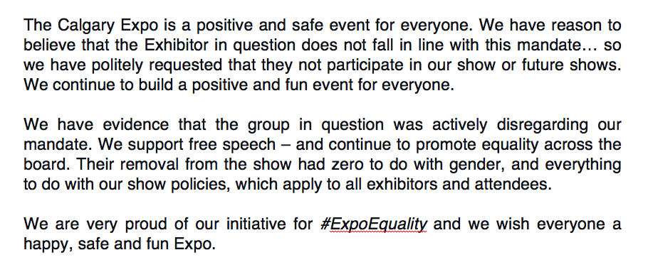 At the #CalgaryExpo, we are all about #ExpoEquality. Here's the scoop on what happened today. :) http://t.co/TzwJ4MPPD3