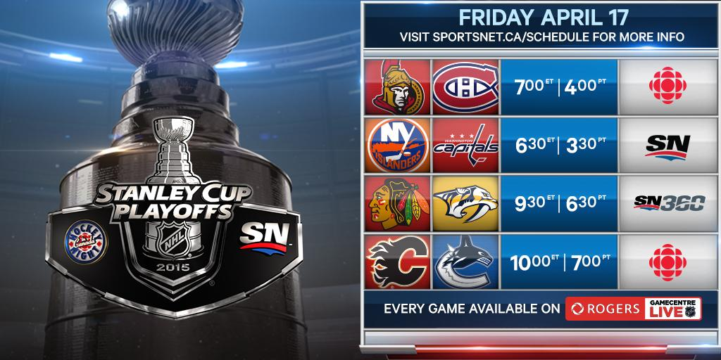 Tune-in as the #Stanley Cup Playoffs continue! #MTLvsOTT #WSHvsNYI #NSHvsCHI #VANvsCGY