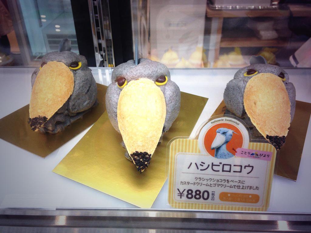 ハシビロコウケーキが迫力満点!桜文鳥ケーキも可愛くて迷ってしまいます!!#ことりびより pic.twitter.com/ktl1YwraiG