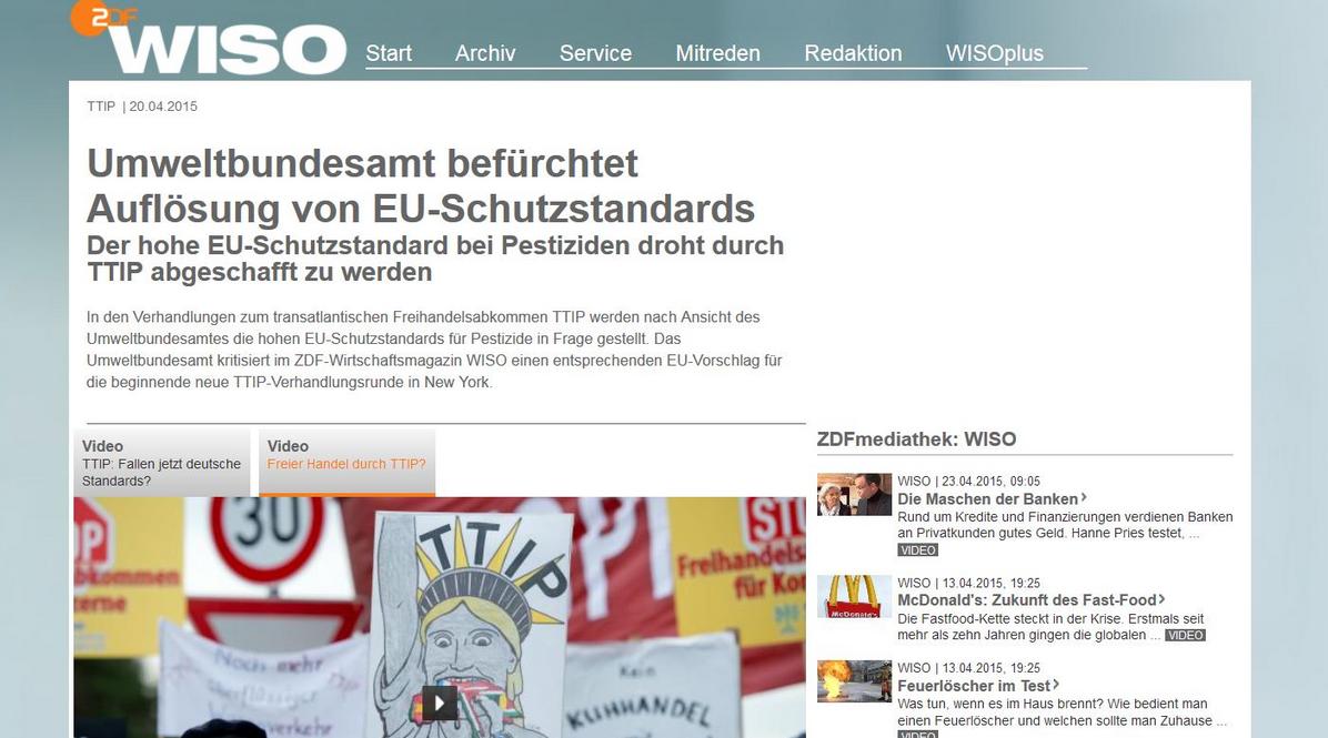 3c2240950a9e11 ZDFwiso  ZDF Was bedeutet  TTIP für die  Umwelt  Lektüretipp   UBA-Positionspapier