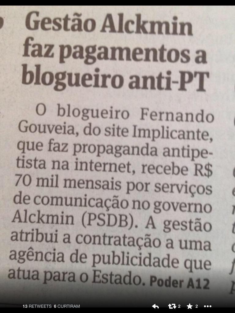 'Blogueiro antipetista recebe 70 mil por mes do governo Alckmin'. Mesmo salário de professor!