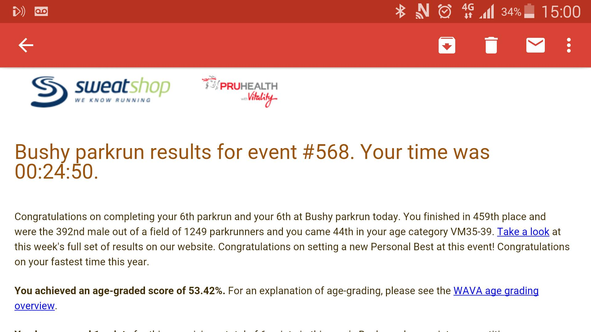 Not quite sure how I managed this! #proudface Thanks again @bushyparkrun and your new (quicker!) course http://t.co/URqnUXCOHQ