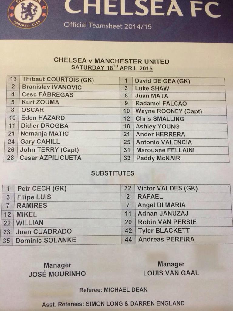 Chelsea v Manchester United line-ups. http://t.co/i2DCppih5Y
