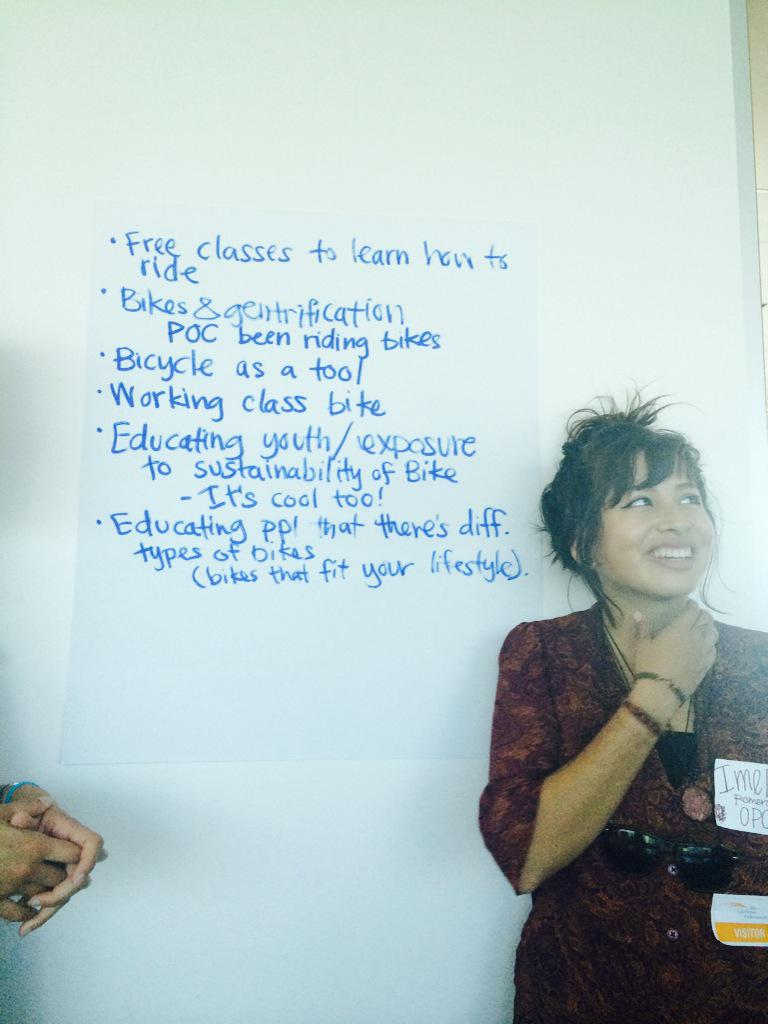 Brainstorming on the intersectionalities of biking #womenbikewomenlead @MCMHandles @OvarianPsycos http://t.co/kzC4pZYBke