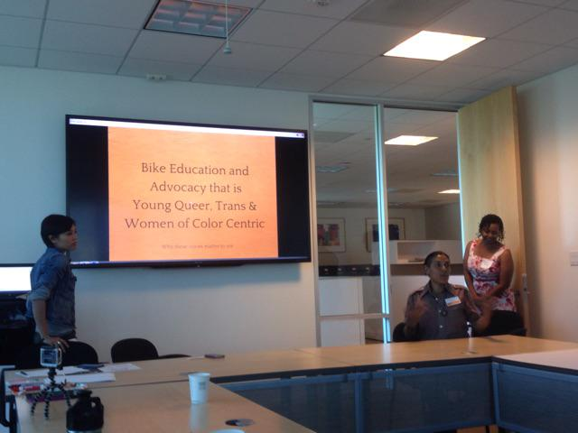 Rio from @MCMHandles on creating young, queer, trans and women of color spaces #womenbikewomenlead http://t.co/NtSMzVF72L