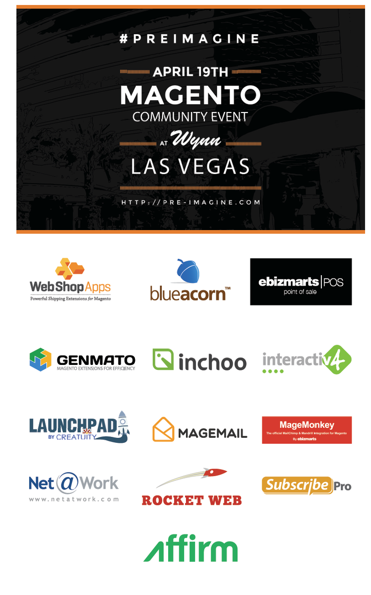 interactiv4: So excited to meet with our sponsors at #PreImagine. So many I can't list them! Thank you! #ImagineCommerce #Magento http://t.co/XnW0w3f1cN